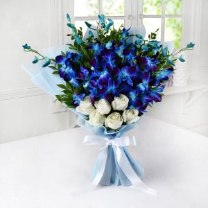 Blue Orchids with White Roses